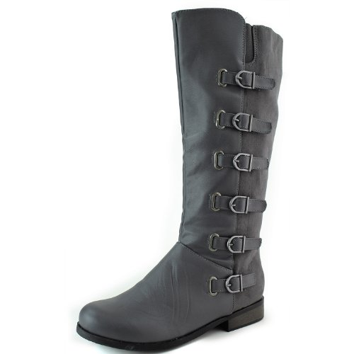 Women's Bumper Freda-10 Grey Knee High Motorcycle Riding Boots Shoes, Grey, 10