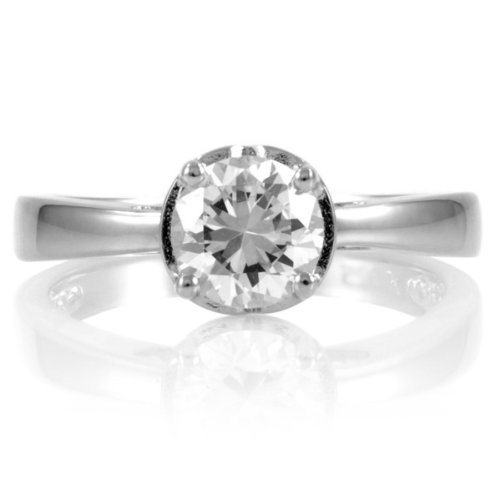 Irene's 1 CT CZ Engagement Ring - Heart Setting Silver