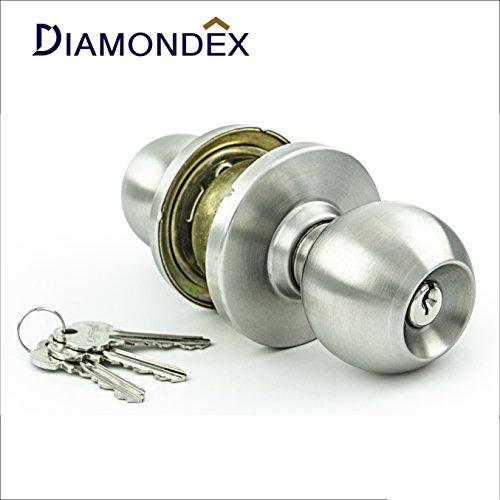 Diamondex & Jarton - Commercial & Residential Door Knob Lock Set, Modern Ball Knob Style, ANSI Grade 1, No.1 ITALY Locking system, Genuine 304JAPAN Stainless steel. (Satin Stainless steel) (Ansi Grade 1 Door Knob compare prices)