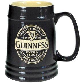 Guinness - Boccale da birra in ceramica, 1 pinta, colore: Nero