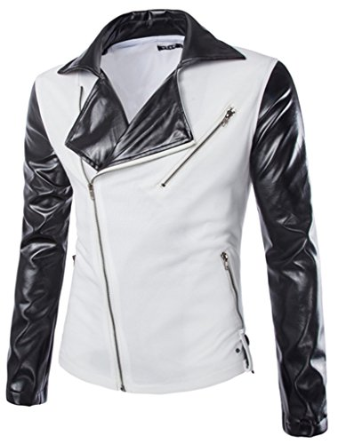 Retrograder Men's Hipster Slim Fit Zip Leather Jackets Coats M004-White-M