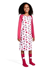 Spotted & Animal Print Nightdress with Socks