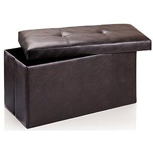 Artis Large Folding Storage Ottoman Pouffe Seat Stool Box Brown