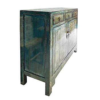 Chinese Distressed Blue Side Tall Credenza Table Cabinet Acs1695