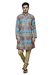 Dhrohar Silk Blue Ikat Long Kurta for Men