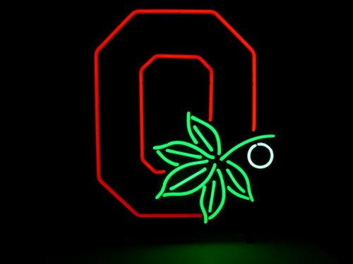 New Retro Ohio State Buckeyes Real Glass Neon Light Beer Pub Sign at Amazon.com