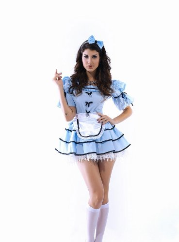 Ladies 3 Piece Alice in Wonderland Sexy Fancy Dress Costume Outfit