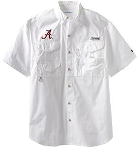 NCAA Columbia Alabama Crimson Tide White Bonehead Short Sleeve Shirt by Columbia