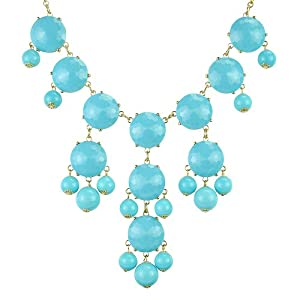 Bubble Necklace, Gold Tone Necklace, Turquoise Blue Necklace, Statement Necklace(Fn0508-Turquoise Blue)