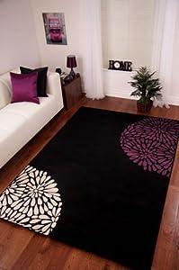 Black, Purple Aubergine and Cream Modern Rug by The Rug House