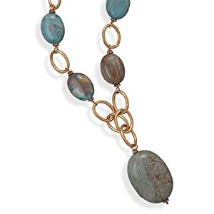 Copper Necklace With Fancy Stripe Jasper - 18 Inch - JewelryWeb