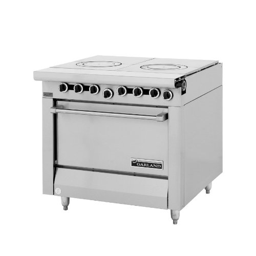 "Liquid Propane Garland M45S Master Series 2 Section Front Fired Hot Top 34"" Gas Range With Storage B"