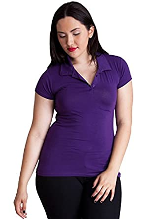 Ladies Purple Plus Size Short Sleeve 3 Button Cotton Polo