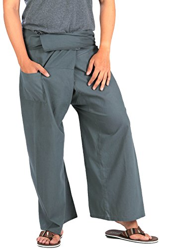 [CandyHusky's Extra Long Fisherman Pants Casual Yoga Dance Pants 100% Cotton (Grey)] (Thai Dance Costume)