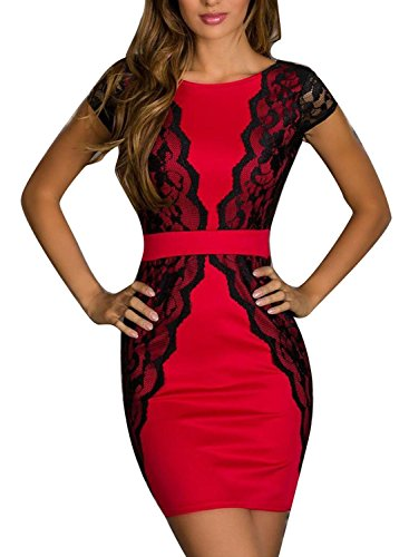 Pakula Women'S Fashion Lace Splicing Pencil Mini Bodycon Dress