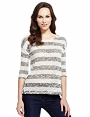 M&S Collection Textured Striped Top