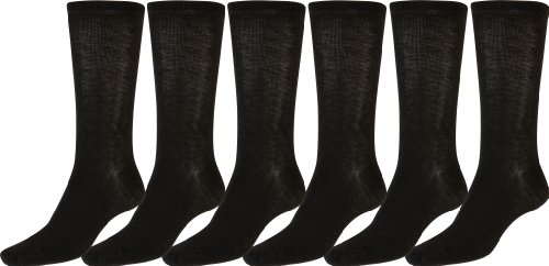 Sakkas Women's Poly Blend Soft and Stretchy Crew Pattern Socks Assorted 6-pack - Black