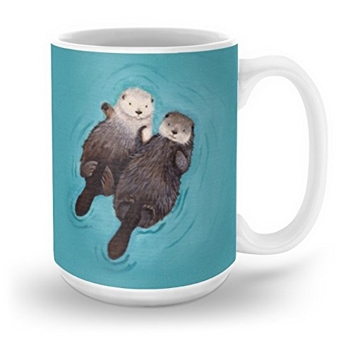 Society6 Otterly Romantic - Otters Holding Hands Mug 15 oz