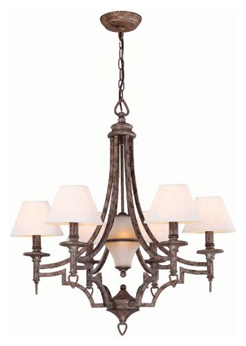 B001GZKFUI Lite Source LS-19137 Damaris 6/1-Lite Chandelier, Aged Pewter with White Shade