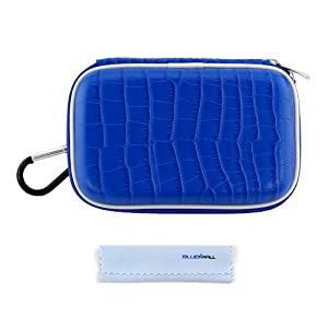 GTMax Ocean Blue Crocodile Print Carrying Storage Eva Case + Cleaning Cloth for Olympus Tough TG-1 iHS, TG-2 iHS, TG-830 iHS; Panasonic Lumix DMC-TS5, DMC-ZS30; Samsung EX2F; Pentax Optio WG-10, WG-3, WG-2 Digital Camera