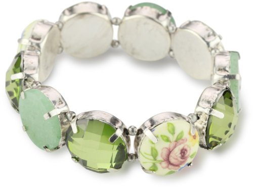 1928 Boutique Spring Garden Silver-Tone & Greens Stretch Bracelet