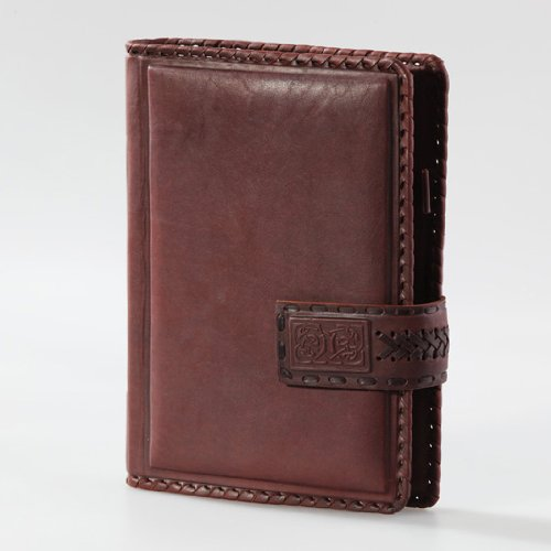 Exclusive Handmade Embossed Leather JOURNAL / NOTEBOOK - Refillable - 9 x 6.5 - CLASSIC - Brown - lined