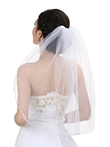 1T 1 Tier Rhinestones Crystal Sattin Rattail Edge Bridal Wedding Veil - White Color Shoulder Length 25