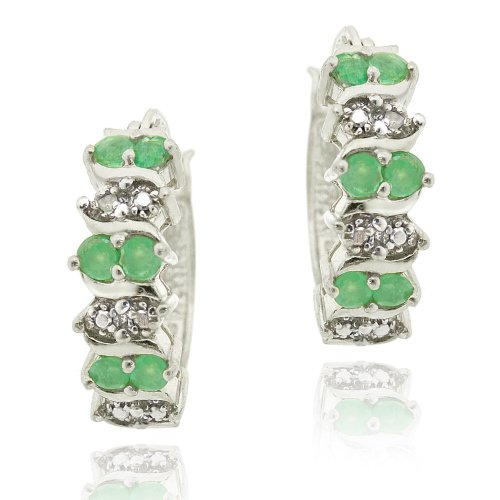 Sterling Silver Emerald & Diamond Accent Hoop Earrings