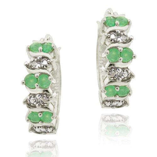 Sterling Silver Emerald & Diamond Accent Hoop Earrings