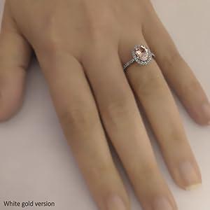 14k Rose Gold Vintage Morganite Engagement Ring Diamond Wedding Band 7x9mm Oval Pink Peach Morganite Ring