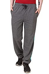 Aventura Outfitters Single Jersey Trackpant Anthra Melange With Two Sky Blue Stripes - L (AOSJTP511-L)