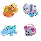 4pcs ゼンマイ仕掛けのおもちゃ 子供玩具 赤ちゃん、幼児や子供のための動物のおもちゃ (らくだ + ぞう + わに + ねずみ)
