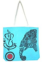 Alle Tote Bag Light Blue Ganesh (Canvas)