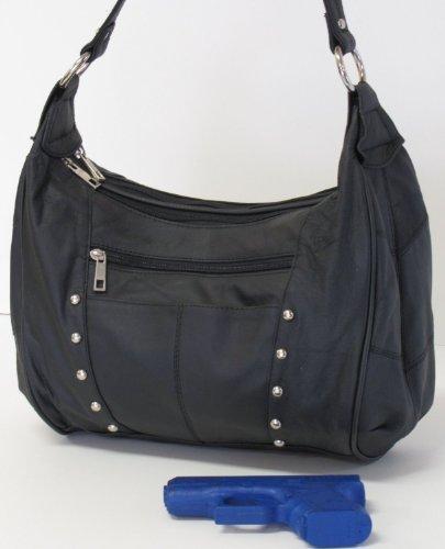 Concealed Carry Handbag - LARGE LOCKING GUN COMPARTMENT - Genuine Leather