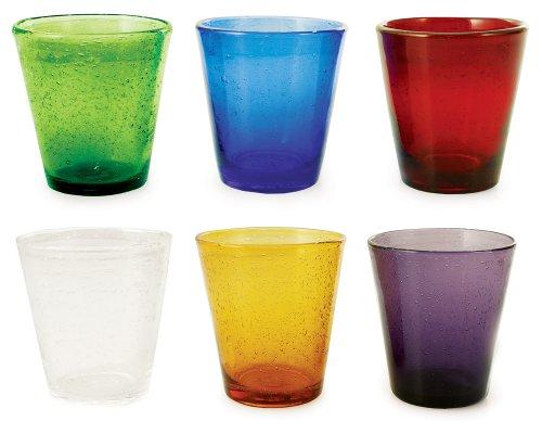 Villa d'Este Home Tivoli Home - Cancun Set 6 Bicchieri da Acqua in Vetro Soffiato a Bocca, 6 Colori Assortiti