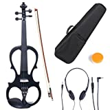 Cecilio 4/4 CEVN-1BK Solid Wood Electric/Silent Violin with Ebony Fittings in Style 1 - Full Size - Black Metallic (Color: black Metallic, Tamaño: full-size)