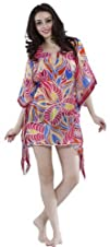 La Leela Womens Sheer Beach Swim Tube Cover-Ups Kaftan