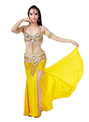 AveryDance Sequined Draping Tassel Belly Dancing 3-Piece Halloween Costume
