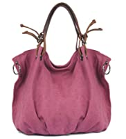 Kattee Elegant Women's Canvas and Leather Tote Shoulder Bag Large