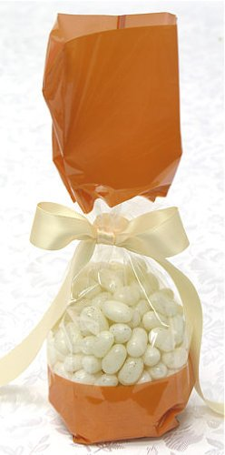 Orange Tall Cellophane Goodie Bag with Colored Band (2in. W x 9 1/2in. H x 1 7/8in. Deep) - pack of 10
