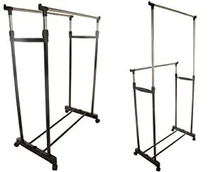 double adjustable height clothes rail with shoe shelf. Black Bedroom Furniture Sets. Home Design Ideas