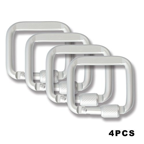 high-strength-aluminium-alloy-outdoor-carabiner-key-chain-square-ring-backpack-buckle-silver-4pcs