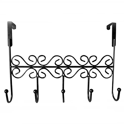 Rbenxia Over the Door Hook Rack Metal Hanger 5 Hooks Black for Hanging Your Clothers (Over Door Metal Rack compare prices)