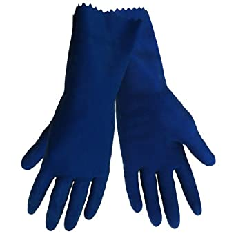 Global Glove 150 Unlined Rubber Canners Diamond Pattern Glove with Straight Cuff, Chemical Resistant, 17 mil Thick, Extra-Large, Blue (Case of 144)