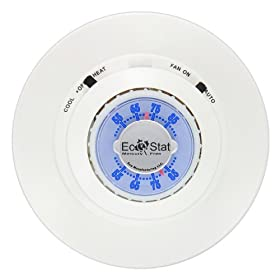 Lux Products THC15-006 Mechanical Round Heat and Cool Thermostat with Light and Mercury Free, Sterling White
