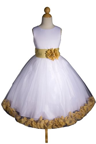 E1008 New White/gold Flower Girl Pageant Easter Party Wedding Dress Size 2 to 12 (Same Day Shipping. Orders Arrive in 3 to 5 Business Days)