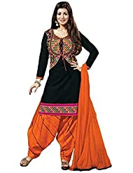 Shiroya Brothers Women's Cotton Printed Unstitched Regular Wear Salwar Suit Dress Material(SB_Black_Free_Size)