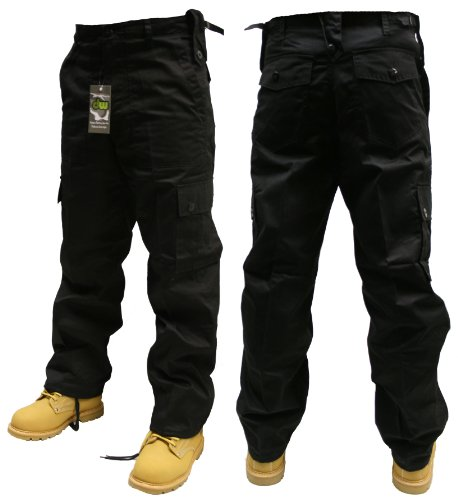 Adults Black Combats Cargo Trousers Sizes 30-50 (32W 32L)