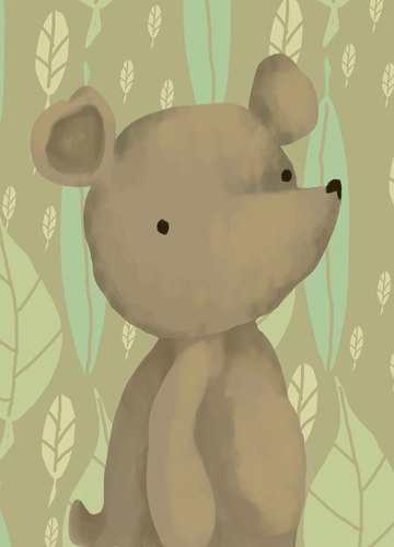 Oopsy daisy Barrington The Bear Stretched Canvas Wall Art by Meghann O'Hara, 10 by 14-Inch