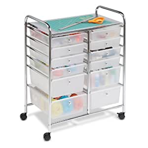 Honey-Can-Do 12 Drawer Studio Organizer Cart, Chrome
